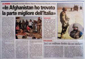 """""""In Afghanistan ho trovato la parte migliore dell'Italia"""" - Cronaca Qui - Torino, 7 Gennaio 2012, pag. 8"""